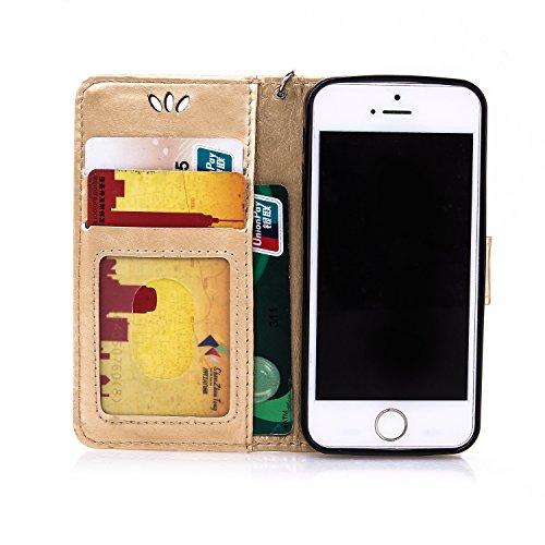 """Coque iPhone 6S Coque iPhone 6, MSK® Bronzante Papillon Fleur imprimé Etui Cuir Folio Portefeuille Protection Pour Apple iPhone 6S/iPhone 6 (4.7"""") Case Protection Cover - Vin Rouge D'or"""