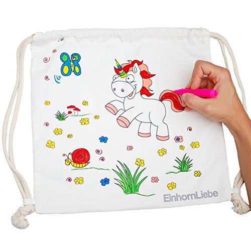 Einhorn Kordelzug Rucksack Turnbeutel Bastel-Set für Kinder und Mädchen aus 100% Baumwolle zum selber bemalen inkl. 5 Stifte 34x34cm Farbe: Natur von EinhornLiebe®