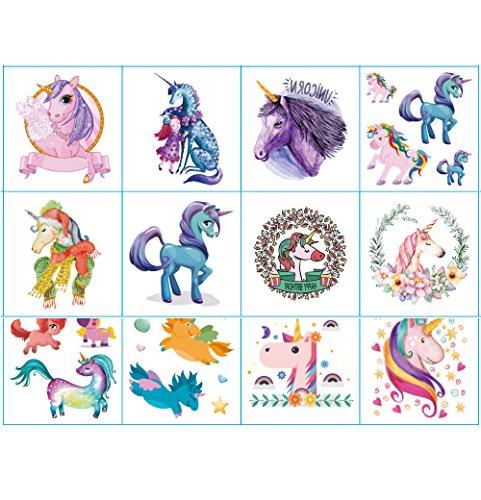 Tatuaggi temporanei per la festa di compleanno per bambini, bomboniere per feste di unicorno adesivi rimovibili per tatuaggi per ragazze (tatuaggi all'unicorno, 12 fogli)