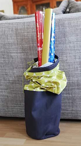 Aufbewahrungstasche für Geschenkpapier, Spielzeug uvm, Baumwolle senfgelb Dots, Canvas dunkelbraun, ca 76cm x 21cm, Handmade