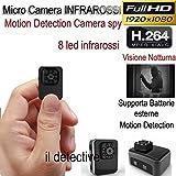 Micro telecamera spia microcamera infrarossi sensore di movimento
