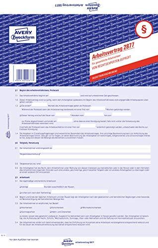 AVERY Zweckform 2877 Arbeitsvertrag (für gewerbl. Arbeitnehmer, A4, selbstdurchschreibend) 5 Stück blau