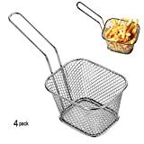 4pcs Mini Chip Baskets Kitchen Stainless steel Fryer Serving Food Presentation Basket