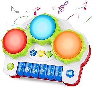 ANTAPRCIS Spielzeug Klavier Keyboard Kinderpiano mit Trommel, Babyspielzeug mit Musik und Lichter, Elektrisches Musikspielzeug , Musikalische Früherziehung Geschenk für Babys und Kleinkinder