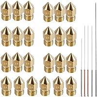 AFUNTA 24 Piezas M6 3D Impresora Extrusora Boquilla Latón Impresión Cabezales para 1.75 mm MK8 Makerbot, ANET A8 y CR-10 Impresora, 7 tamaños (0,2/0,3/0,4,/0,5/0,6/0,8/1,0 mm) + 5 tamaños de boquilla de limpieza agujas