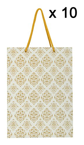 Arrow Paper Bags Gold Flower Design Gift Bags for Gifting, Weddings, Birthday,Holiday Presents (28 cm x 20 cm x 7.5 cm, Pack of 10)