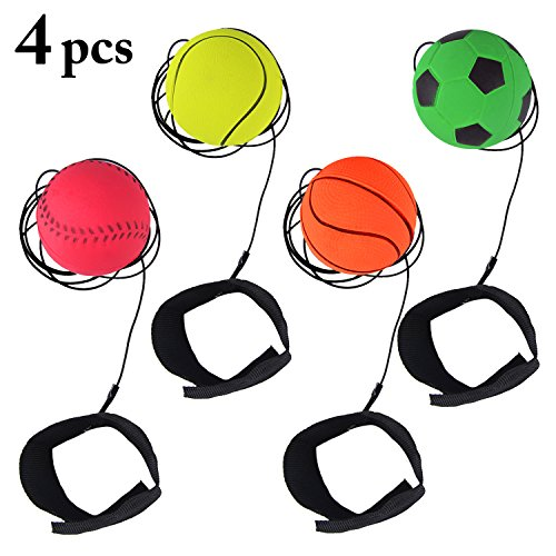 Fansport 4PCS 2.48'' Handgelenk Ball Wrist Band Balls Rubber Bouncing Rebound Balls String Training Balls