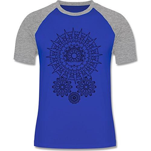 Boheme Look - Boho Mandala Yoga - zweifarbiges Baseballshirt für Männer Royalblau/Grau meliert