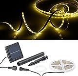 Lunartec Solar LED Band: Solar-LED-Streifen mit 180 warmweißen LEDs, 3 m, wetterfest IP65 (LED Lichtband Außen Solar)