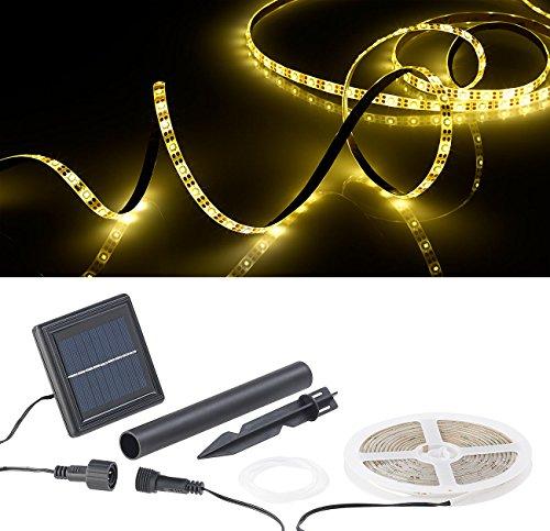 Lunartec Solar LED Streifen Außen: Solar-LED-Streifen mit 180 warmweißen LEDs, 3 m, wetterfest IP65 (Solar LED Lichtband aussen)