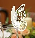 100pz farfalle Segnaposto Segnabicchiere BIANCA PERLATA bomboniera matrimonio segnatavolo