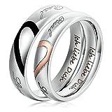 1 Paar Freundschaftsringe Edelstahl Ringe für Damen und Herren Silber Ich liebe Dich Herz Puzzle Ringe & gravur Damen 65 (20.7) & Herren 74 (23.6)