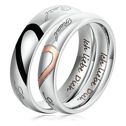 1 Paar Verlobungsringe Edelstahl Ringe für Damen und Herren Silber Ich liebe Dich Herz Puzzle Ringe & gravur Damen 65 (20.7) & Herren 67 (21.3) (Titanum Verlobungsring)