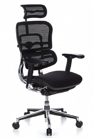 hjh Office Ergohuman Siège de bureau type fauteuil de direction - Assise en tissu & Dossier en maille - Noir