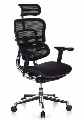 hjh OFFICE 652630 Luxus Chefsessel ERGOHUMAN Stoff / Netzrücken Schwarz hochwertiger Bürodrehstuhl mit Vollausstattung