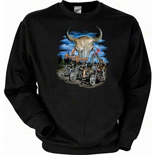 Sweatshirt mit Motiv - Follow the Spirit - englischsprachiges Sweate Amerika USA als Geschenk-Idee für Biker - Schwarz, Größe:XL