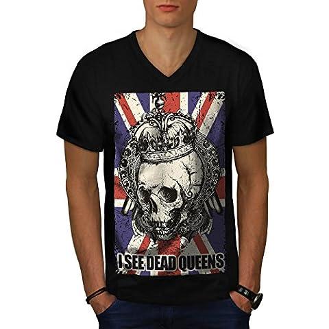 Schädel Tot Königin Metall Vereinigtes Königreich Skelett Vereinigtes Königreich Herren M V-Ausschnitt T-shirt | Wellcoda