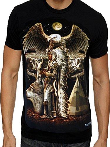 Eagle Wolf maglietta da motociclista con immagine nativo americano indiano e luna Design 1 X-Large