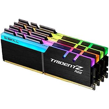 G SKILL F4-3200C16Q-32GTZR Trident Z RGB Series 32 GB (8 GB x 4) DDR4 3200  MHz PC4-25600 CL16 Dual Channel Memory Kit - Black with full length RGB LED