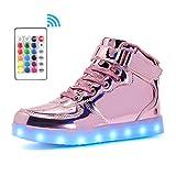 Voovix Kinder High-Top LED Licht Blinkt Sneaker mit Fernbedienung-USB Aufladen LED Schuhe für Jungen und Mädchen (Rosa01, EU38/CN38)