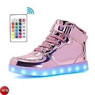 Voovix Bambini LED Lampeggiante Scarpe con Telecomando per Ragazzi e Ragazze (Rosa01, EU39/CN39)
