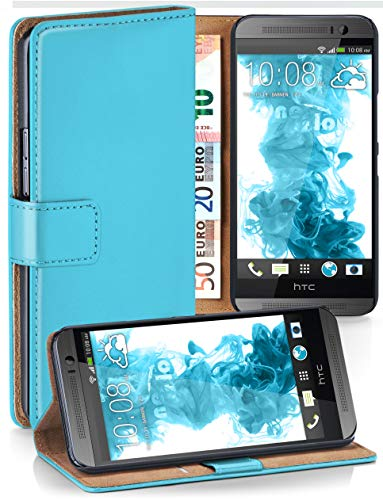 moex® Booklet mit Flip Funktion [360 Grad Voll-Schutz] für HTC One M8   Geldfach & Kartenfach + Stand-Funktion & Magnet-Verschluss, Türkis
