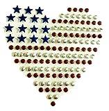 b2see Strass Bügel-Motiv Bügel-Bild Bügel-Applikation Strass Bügel-Sticker-Ei Aufbügler Strass-Motive zum aufbügeln waschbare Qualität USA Herz 9,5 x 9,5 cm