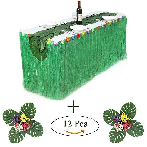 AJON Hawaiian Luau Tisch Rock Set Mit 12 Pcs Tropische Faux Palm Blätter Hawaii Luau Hibiscus Grass Tisch Rock Mit Magic Sticker Für Summer Tiki Party Luau Moana Themen Partys,Green30cm