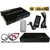 Kalea Informatique–Conmutador HDMI 1.4b/amplificador de audio–3entradas a una salida–Resolution 4K 2160X 3840/compatible con 3d–Gráfico Pip–salidas amplificador para HP/subwoofer + SPDIF, coaxial y casco