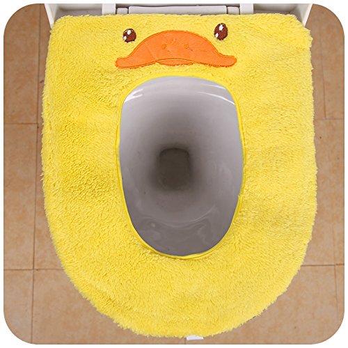 SOEKAVIA Toilettensitzbezug Wärmer Waschbar WC-Sitzbezüge für allgemein Toilettensitz-gelbe Ente