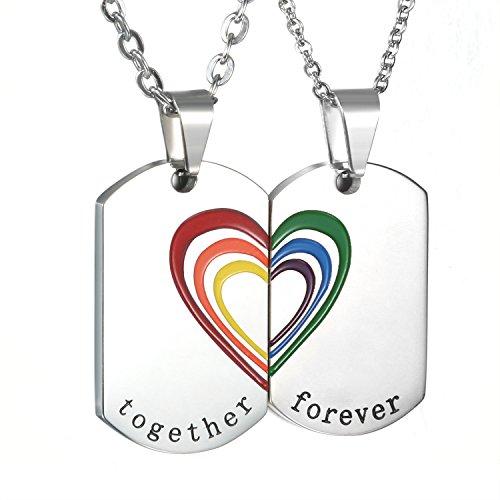 Oidea 2PCS Herren Damen Halskette Schmuck Set, Lieben Herz Puzzle Regenbogen Rainbow charms Edelstahl Anhänger mit
