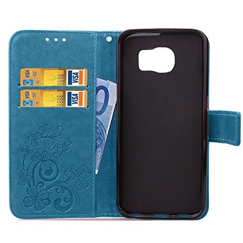 Galaxy S6 Edge Hülle,Galaxy S6 Edge Schutzhülle,Galaxy S6 Edge Case,Galaxy S6 Edge Leder Wallet Tasche Brieftasche Schutzhülle,ikasus® Prägung Klee Blumen Muster PU Lederhülle Flip Hülle im Bookstyle  Klee Blumen:Blau