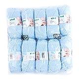 Gründl 3458-03 Baby Uni Wolle, 70% Polyacryl 30% Polyamid, Pastellblau, 35 x 32 x 8 cm