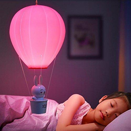 Lanlan Kinder Baby Kinderzimmer Lampe mit Touch Schalter USB wiederaufladbar Wandleuchte für Kinder Schlafzimmer dimmbar Heißluftballon LED-Nachtlicht, rosa