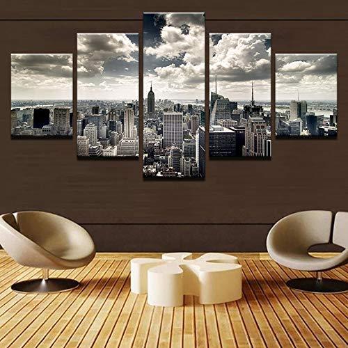 mmwin Leinwand Wandkunst HD Drucke Bilder Wohnzimmer 5 Stücke New York City Gebäude luftbild s Wohnkultur Poster Arbeiten -