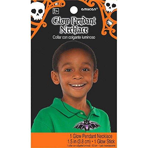 Amscan International 394478-553,8cm Glow in the Dark Fledermaus Halskette (Dark The In Tischdecke Halloween-glow)