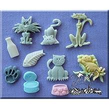 gatos- 3D Silicona Decoración De Tartas Moldes Ideal para decoración de Cupcakes y especial Tarta para un Gato Abanico de Cueza al horno y crear