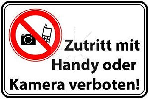 Sticker-Designs 10cm!2Stück!Aufkleber-Folie Wetterfest Made IN Germany zutritt Handy Kamera Verbot S181 Jahre haltbar UV&Waschanlagenfest Vinyl-Sticker Profi Qualität