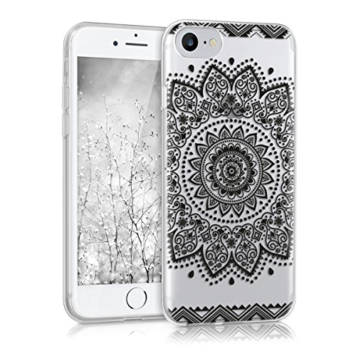 kwmobile Hülle für Apple iPhone 7 / 8 - TPU Silikon Backcover Case Handy Schutzhülle - Cover klar Ananas Strauch Design Rosegold Transparent Blume IMD Schwarz Transparent