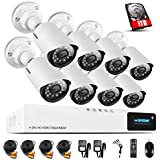 H.View HD 720P Home Security Camera System 1TB HDD, 8CH DVR Kit Smart Recording, 1200TVL 1.0MP Weatherproof Outdoor Bullet CCTV Camera, Video
