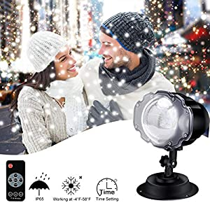 ECOWHO Christmas Projector Lights Outdoor, LED Snowflake Light Projector Waterproof Remote Control Snow Falling Flurries Night Light Spotlight for Halloween, Party, Wedding, New Year