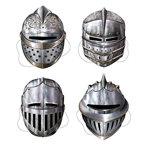 Beistle 66802 4-Pack Rittermasken, 12-Zoll (Sie Kostüm Stellen Ritter)