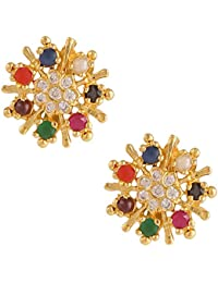 277f115ff Parinaaz Traditional Ethnic Gold Plated Jewellery Navratan Earrings Studs  for Girls and Women