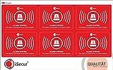 6 Stück Aufkleber 'Alarm', iSecur®, alarmgesichert, 5x3,5cm, Art. hin_241, Hinweis auf Alarmanlage, außenklebend für Fensterscheiben, Haus, Auto, LKW, Baumaschinen (Englisch)