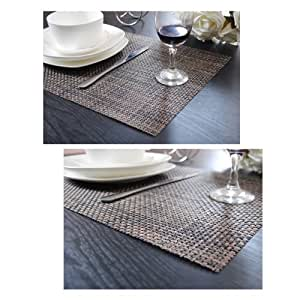 PVC Weave Placemats Table Mat,Set of 4, Two Color Available, Flaxen by Laxury
