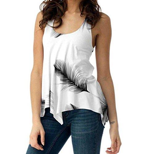 VJGOAL Women Print Sleeveless Bandage Tank Vest Irregular Hem Blouse Pullover Plus Size Tops O Neck Shirt
