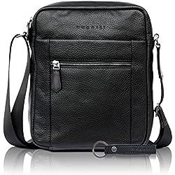 bugatti Citta sac à bandoulière en cuir véritable - élégant sac à bandoulière noir