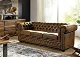 MASSIVMOEBEL24.DE Sofa Chesterfield Antik Optik Vintage Oxford braun
