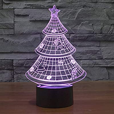 Luz de noche 3D, lámpara de noche, luz de noche, iluminación de cabecera, acrílico D Merry Tree Bulb Dormitorio intermitente Árbol de Navidad BabyHome Party DecorHalloween Christmas Gift Gifts