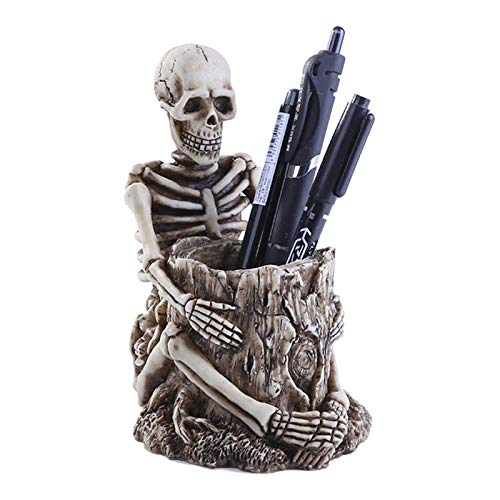 Geggur Skull Pen Holder, Skull Makeup Brush Holder, Hangable Skull Pencil Holder Skeleton Stationery Holder, Home Office Desk Supplies Organizer Accessory, Strong Resin, Very Cool Pen Holder Gift idea